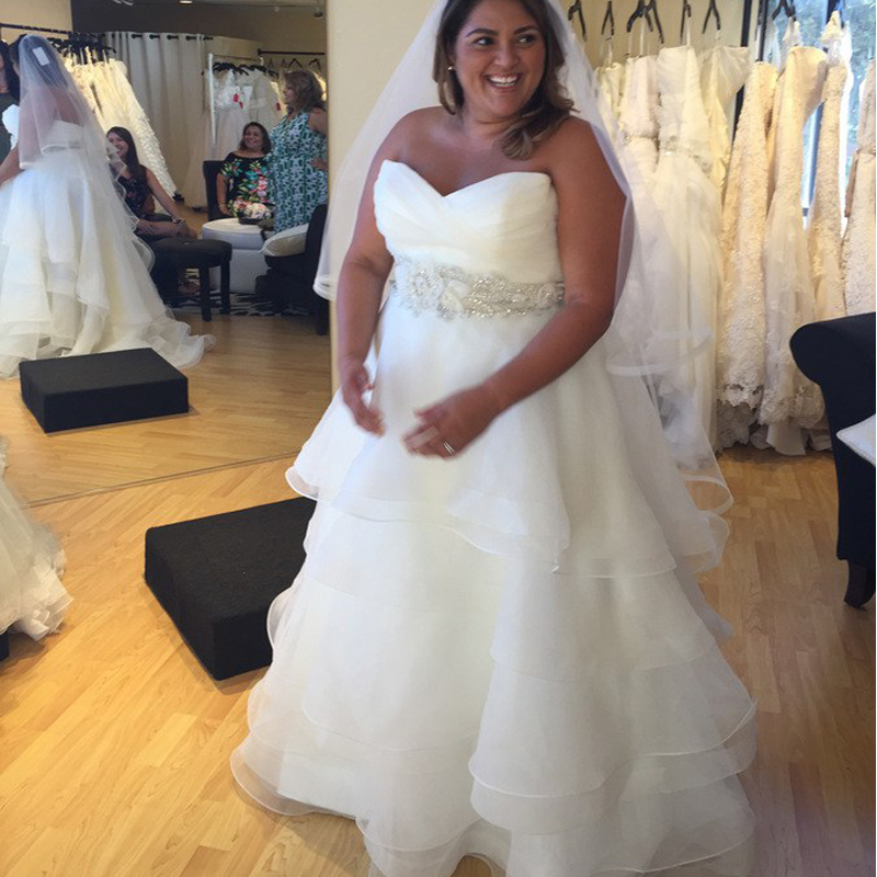 Organza Tiered Skirts Plus Size Wedding Dresses A Line Floor Length