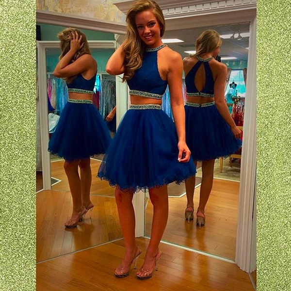 62fdcb6882 Halter Neck Royal Blue Graduation Dresses Girls Beaded Puffy Short Two  Pieces Homecoming Dresses CS055