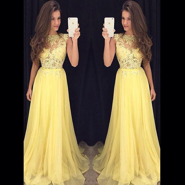 Long Yellow Prom Dresses 2016 Imported Party Dress Lace Top Flowing