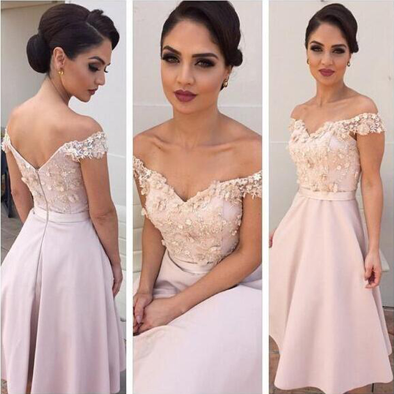 aa2d4641a8 Off the Shoulder Pale Pink Bridesmaid Dresses Knee Length V Back Beach Wedding  Party Dresses robe