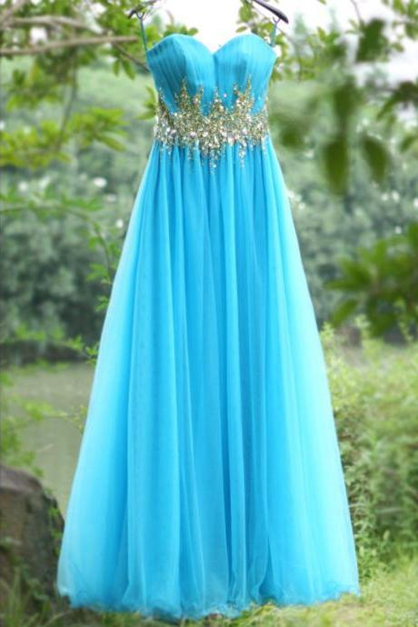 Real Photo Blue Prom Dresses with Rhinestones Lace-up Back Long Puffy Women Party Dresses vestido de formatura longo CS644